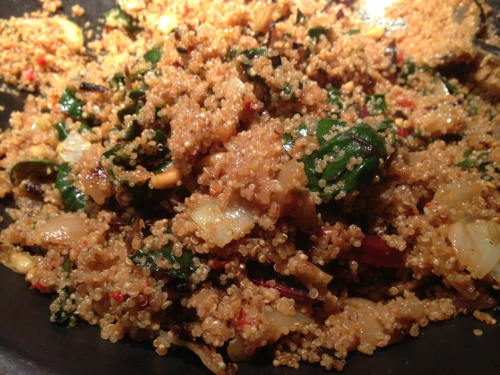 Quinoa with Swiss Chard & Toasted Pignoli Nuts